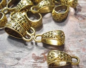 50% Off 10 pcs Antique Gold Bails 18x10x7mm Metal Beads FN1008 FG16