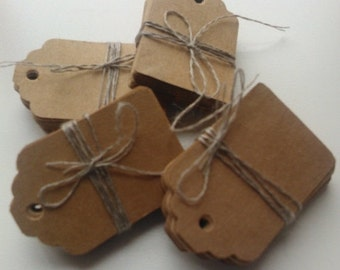 SUMMER SALE 50 medium plain kraft brown card price hang gift tags