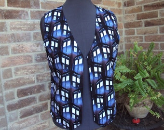 "Dr. Who ""call box"" adult vest--only one made--adult size Med.  36"" chest"