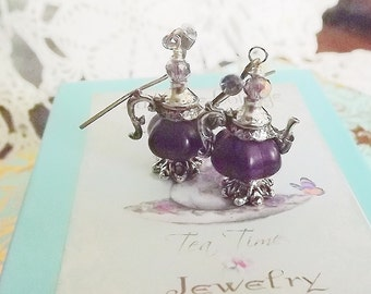 Purple, Pumpkin, Cinderella, Silver, Tea Pot, Earrings