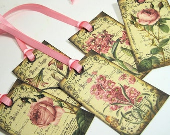 Large Pink Floral Card Gift Tags -  Set of 10 - Romantic - French Vintage - Touch of Glitter