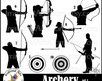 Archery Silhouettes set 1 - with 9 digital graphics png - Archers with bow and arrow bulls eye clip art silhouette [INSTANT DOWNLOAD]