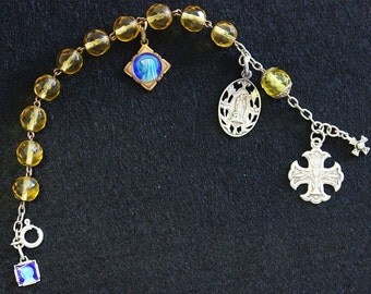 Pre WW1 Crystal and Sterling Rosary Bracelet with Very Rare Sterling Silver and Enamel Medals
