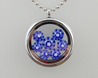 Polar Constellation Murrini Pips locket, stainless steel, lampworked and slumped glass cabochons