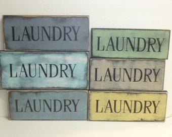 LAUNDRY SIGN / laundry sign / laundry wall sign / laundry room decor / small laundry sign / hand painted sign / laundry wall decor / wood