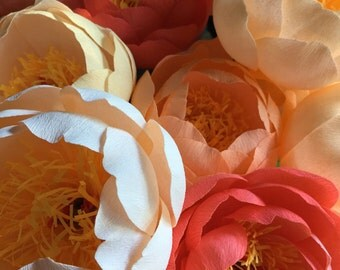 Crepe Paper Flower - Set of 3 Coral Charm Peony - Handmade