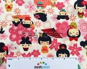 Japanese GEISHA DOLLS Pink KOKESHI Doll Cotton Quilt Fabric Yard Fq Kawaii Geishas Asian Tokyo Japan Harajuku Girls Oriental China Flowers