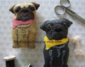 INSTANT DOWNLOAD Felt Ornament Sewing Pattern-- Precious Pug (121115)