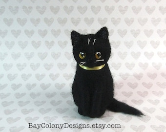 Made To Order: Needle-Felted Precious Miniature Kitten Sculpture  (62316)