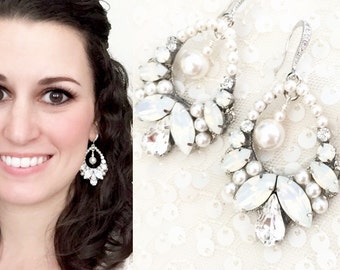 Chandelier Statement Wedding Earrings , White Pearl Large Earrings , White Opal Rhinestone Jewelry , Large Statement Bridal earrings