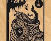 Tsathoggua on wood veneer 8 x 10 Mythos screen print