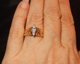 14k Diamond Ring - Vintage Gold Filigree
