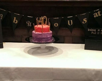 """Handcrafted """"Fabulous at 40"""" birthday decorations"""