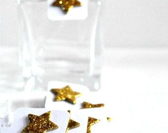 Gold Glitter Star Tags {12} | Mini Glitter Star Tags | Mini Stars Tags | Embellishments | Christmas Star Tags | Holiday Tags
