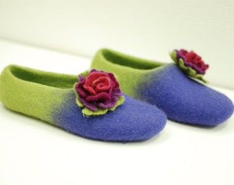 Ready to ship- size 36-37 US6-6.5  purple/green  felted slippers  last minute gift