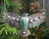 Stone Mountain Turquoise & Sterling silver Bird of Flight Pendant