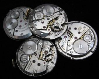 Vintage Antique Round Watch Movements Steampunk Altered Art Assemblage A 66