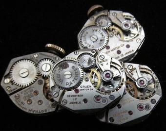 4 Vintage Watch Movements Parts Steampunk Altered Art Assemblage TM 46