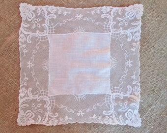 Vintage Handkerchief Linen Lace Hankie Bridal Lace Embroidery on Net Lace