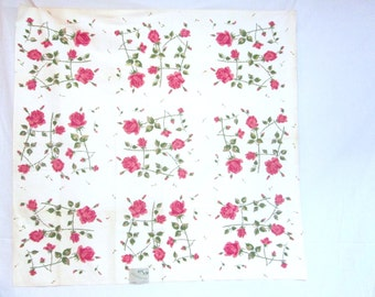 Vintage Tablecloth Pink Roses MWT Sun Glo Tea Roses Vintage Linens Table Linens