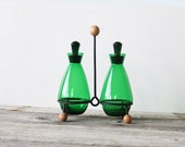 Atomic Green Glass Oil & Vinegar Cruet Set
