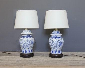 Pair of Blue & White Ceramic Ginger Jar Urn Lamp (Set of 2)