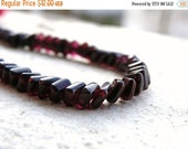 Clearance SALE Garnet Gemstone Rondelle Dark Maroon Smooth Square 5mm 1/2 Strand 52 beads