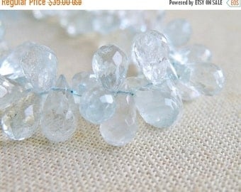Clearance SALE Aquamarine Gemstone Briolette Blue Faceted Tear Drop 6 to 7mm 1/2 strand 40 beads