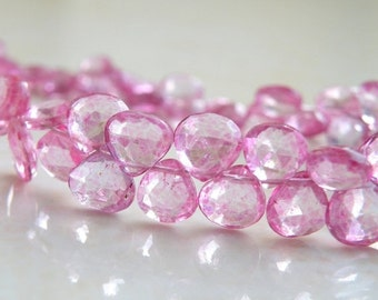 51% Off Sale Pink Topaz Gemstone Briolette Mystic Faceted Heart 7mm 13 beads