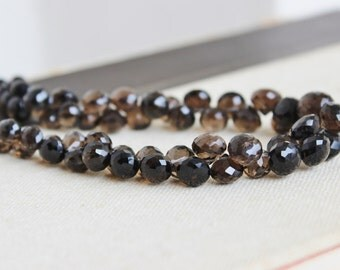 Smoky Quartz Gemstone Briolette Faceted Onion 7.5mm 35 beads 1/2 Strand