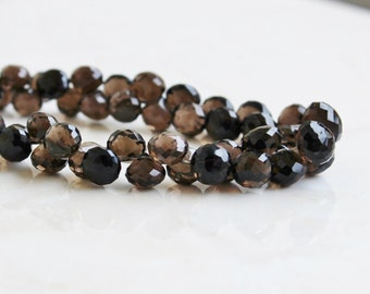 Smoky Quartz Gemstone Briolette Faceted Onion 8.5 to 9mm 14 beads