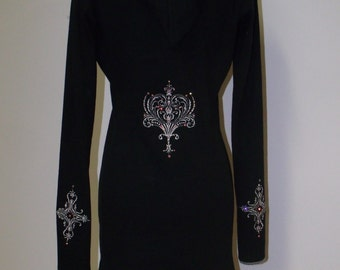 Gothic Long Sleeve Women's Pullover Black Embroidered Hoodie Tunic Dress Swarovski Crystals