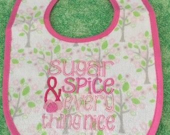 Baby Girl Machine Embroidered Bib - Sugar and Spice