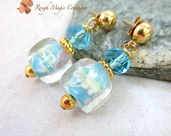 Lampwork Flower Earrings, Aqua Blue Green Pink Floral Jewelry, Gold Post Earrings, Gifts for Women, Chunky Dangle Earrings, Present for Her