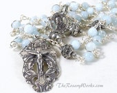 Sacred Heart Rosary Beads AA Grade Aquamarine Handmade Bali Beads Sterling Silver Blue Wire Wrapped Unbreakable Our Lady of Carmel
