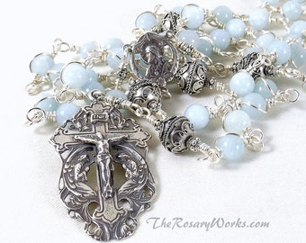 Sacred Heart Aquamarine Rosary Beads Handmade Bali Beads Sterling Silver Pale Blue Wire Wrapped Unbreakable Our Lady of Carmel Catholic