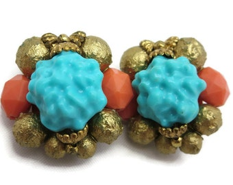 Beaded Clip Earrings - Turquoise and Coral Lucite, Gold Tone Shiny Beads, Vintage Costume Jewelry