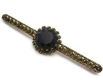Black Bar Brooch - Cannetille Brass Filigree, Spain, Victorian Revival Costume Jewelry