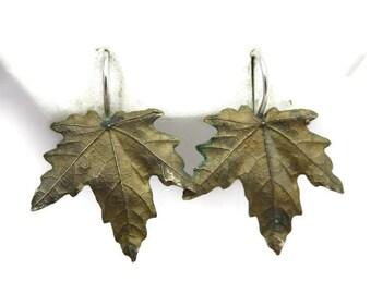 Bronze Leaf Earrings - Silver Hooks, Nature