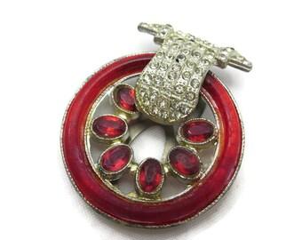 Art Deco Dress Clip - Red Glass, Rhinestone Bridal Jewelry