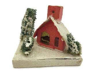 Putz House Christmas Decoration - Japan, Mica Glitter, Miniature, Mid Century House, Vintage Christmas