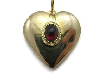 Heart Locket - Vintage, Gold Tone, Ruby Red Lucite Stone, Costume Jewelry