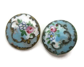 Blue Enamel Button Pair - 1800s, Floral Painted, Set of Two