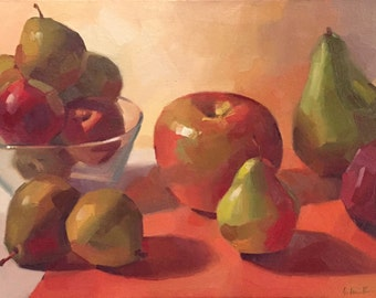 """Art painting fruit pear and apple still life """"Red Into Green"""" original oil by Sarah Sedwick 9x12"""""""