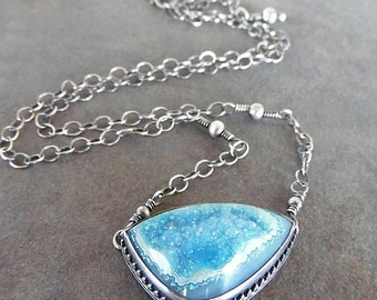 Rustic-Hand Made-OOAK-Necklace- Sterling Silver-Gemstone Crystal Druzy/Drusy Artisan Jewelry.