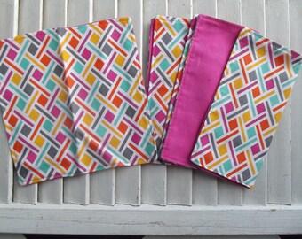"Set of 4 2 ply Cotton 8"" Everyday Cloth Napkins  Bright Geometric  Print"