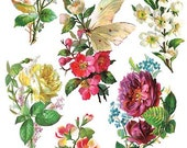 Self Adhesive Flowers Stickers 1 Sheet Colorful Scrapbooking Stickers  Number C69
