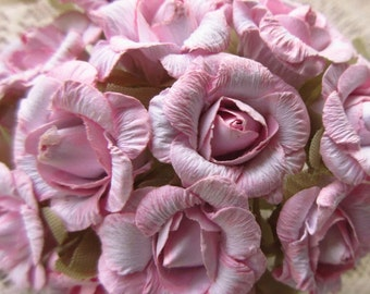 Paper Millinery Flowers 24 Old Fashioned Roses In Pink Mix