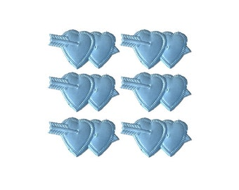 12 Light Blue Dresden Foil Double Hearts Made In Germany  DF 7602 LB