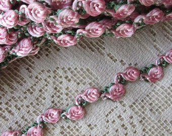 2 Yards Wavy Little Vintage Rose Ribbon Braid Trim Pink & Green VT 118